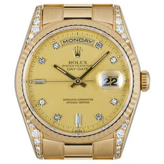 Rolex Day-Date Yellow Gold Champagne Dial Diamond Set 18338 Watch