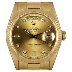 Rolex Day-Date Yellow Gold Champagne Diamond Dial 18038 Wristwatch