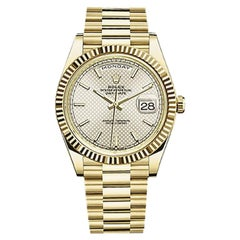 Rolex Day-Date Yellow Gold Men's Watch 228238 Silver Diagonal Index