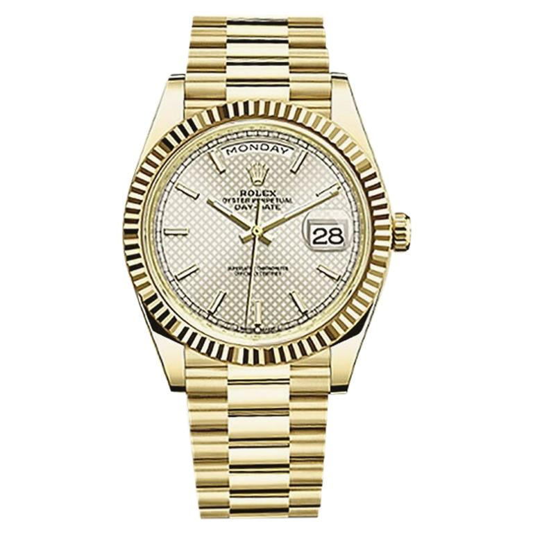 Rolex Day-Date Yellow Gold Men's Watch 228238 Silver Diagonal Index For Sale