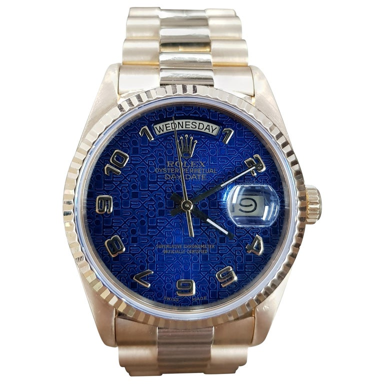 Rolex Day Date, Yellow Gold, Model Number 18238, Registered, 1988 For Sale