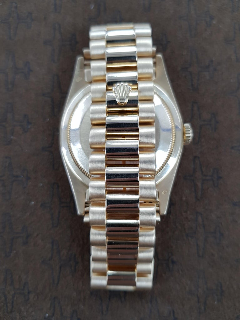 Contemporary Rolex Day Date, Yellow Gold, Model Number 18238, Registered 1993 For Sale