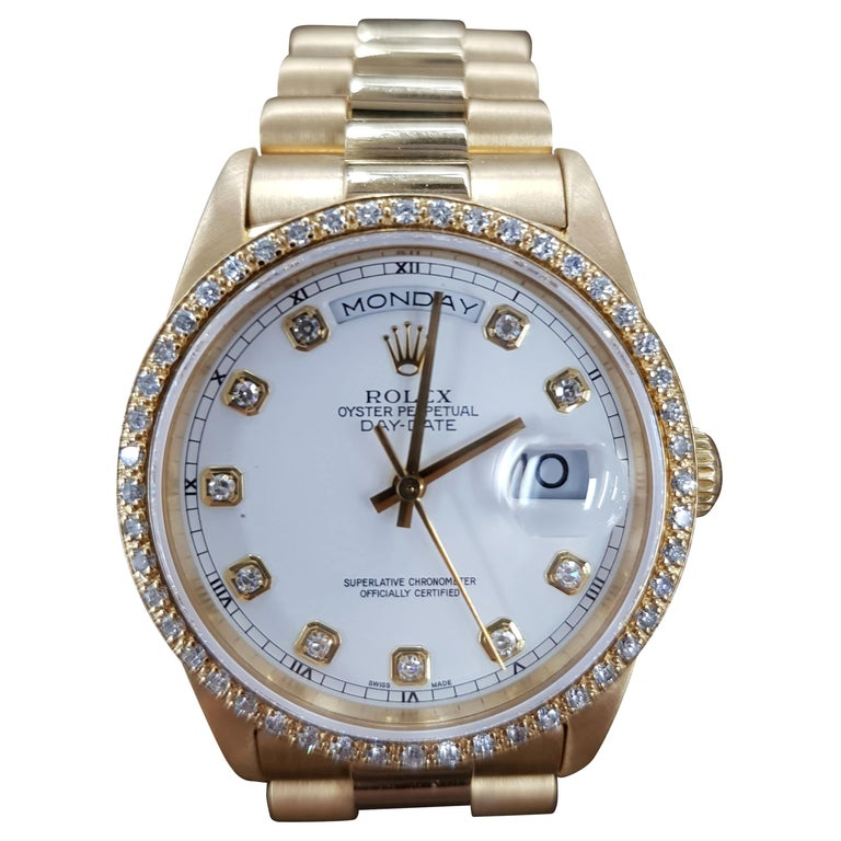 Rolex Day Date, Yellow Gold, Model Number 18238, Registered 1993 For Sale