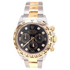 Rolex Daytona 116503 Two Tone Cosmograph Steel 40 Black Diamond Dial Mens Watch