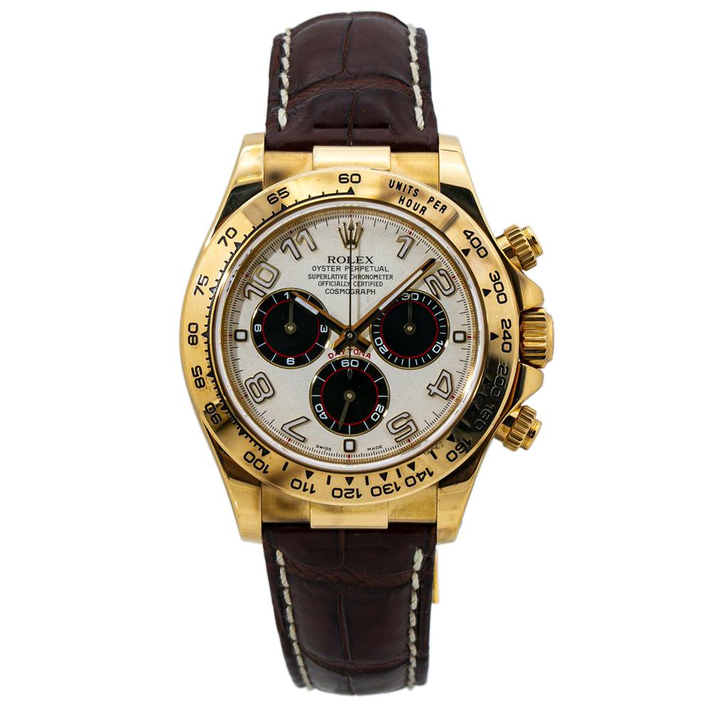 Rolex Daytona 116518 18k Gold Panda Dial Automatic Watch with Papers