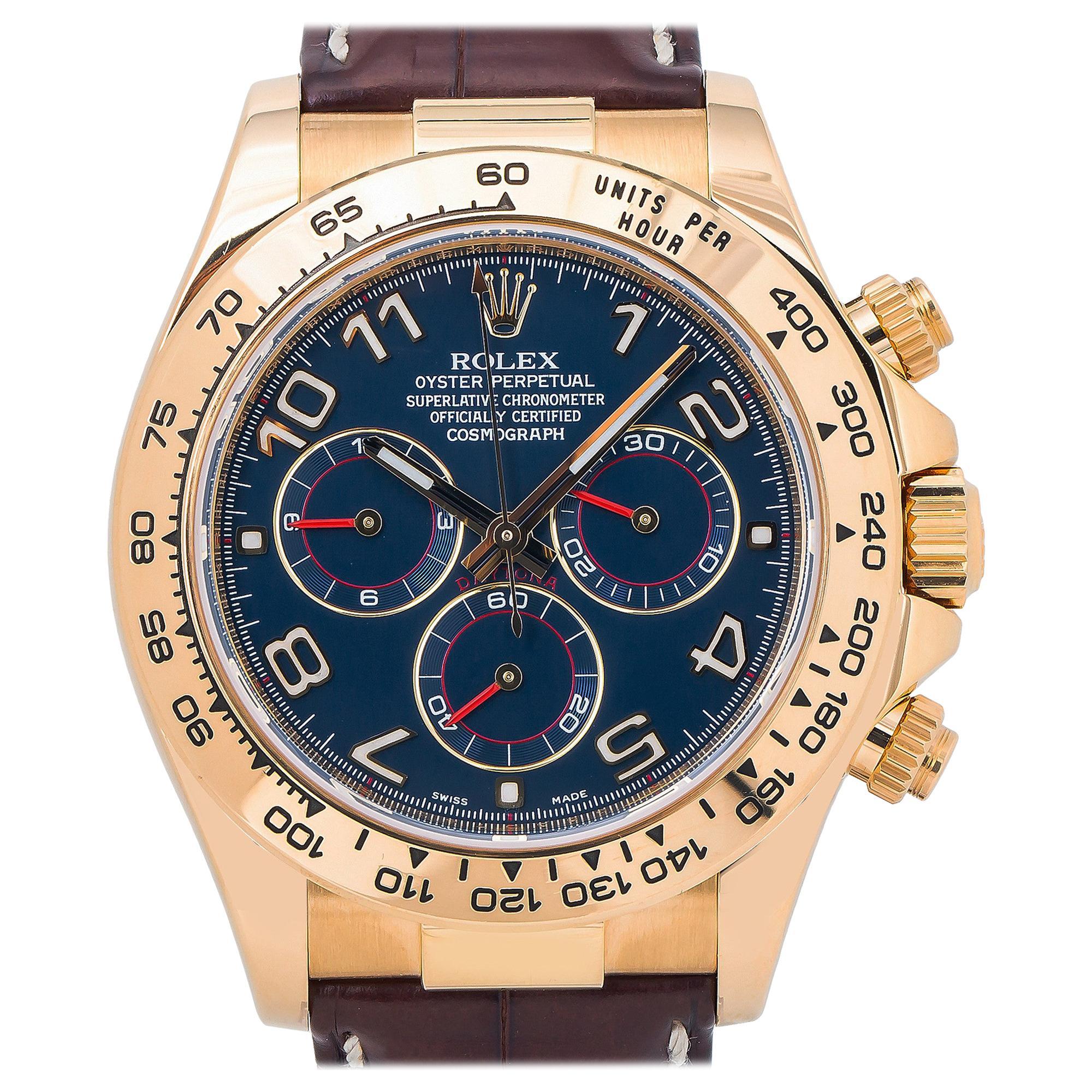Rolex Daytona 116518, Blue Dial, Certified and Warranty