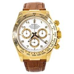 Rolex Daytona 116518 Cosmograph 18K Gold White Dial Automatic Mens Watch w/Box