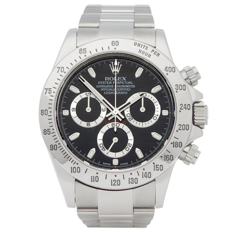 Rolex Daytona 116520 Men's Stainless Steel Chronograph Watch For Sale
