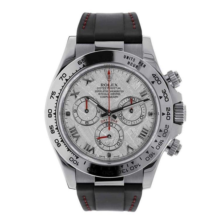 Rolex Daytona 18 Karat White Gold Meteorite Dial Leather Strap Watch