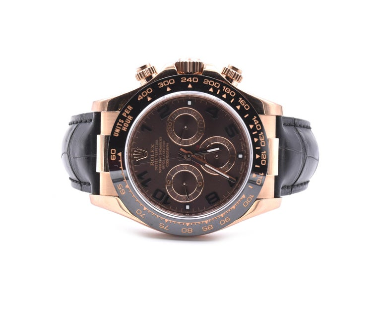 Rolex Daytona 18k Rose Gold Cosmograph Watch with Black Alligator Strap Ref. #11 In Excellent Condition In Scottsdale, AZ