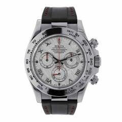 Rolex Daytona 18 Karat White Gold Meteorite Dial Leather Strap Watch 116519