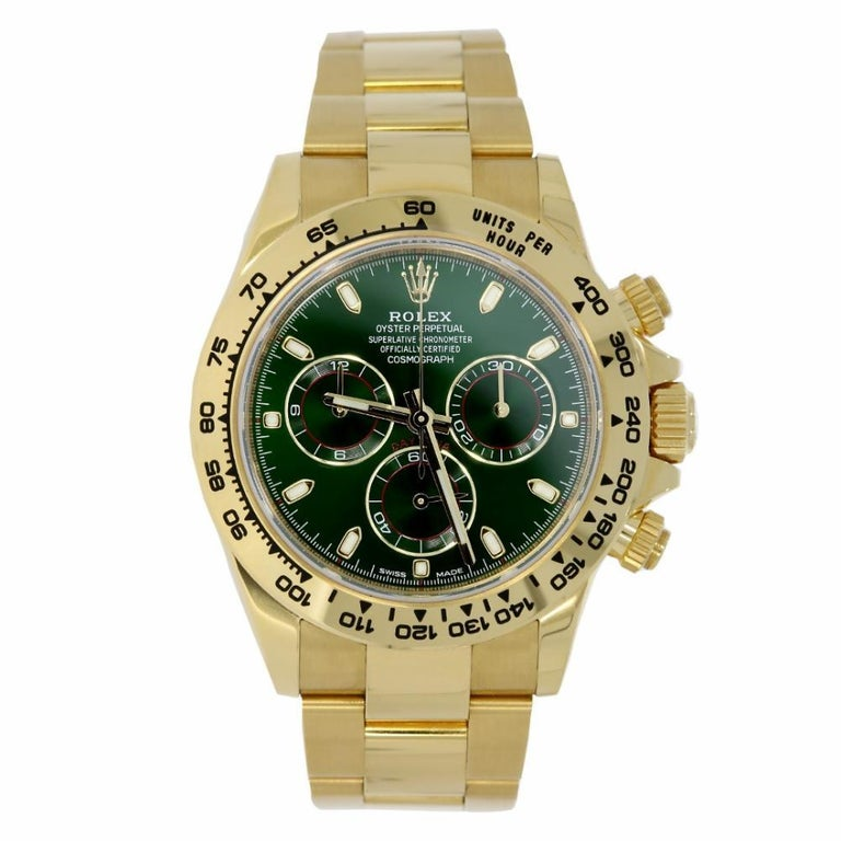 rolex daytona 18 karat yellow gold green dial watch 116508. Black Bedroom Furniture Sets. Home Design Ideas