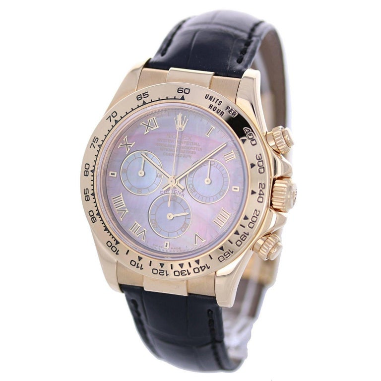 Rolex Yellow Gold Dark Mother Of Pearl Daytona Automatic