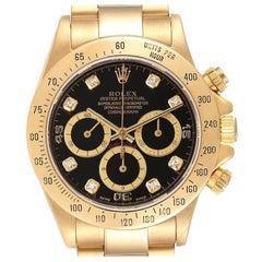 Rolex Daytona 18k Yellow Gold Inverted 6 Diamond Dial Mens Watch 16528