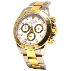 Rolex Daytona 18 Karat Yellow Gold and Steel White Dial Watch