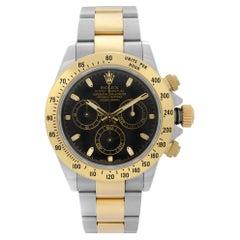 Rolex Daytona 18K Yellow Gold Steel Black Dial Automatic Mens Watch 116523