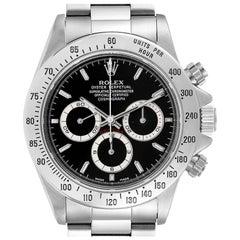 Rolex Daytona Black Dial Chronograph Steel Watch 16520 Box Papers