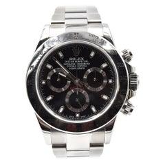 Rolex Daytona Black Dial Stainless Steel Watch Ref 116520