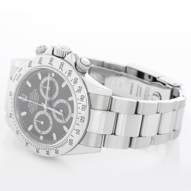 Rolex Daytona  Chronograph Function Men's Stainless Steel Watch 116520 - Automatic winding, chronograph, 44 jewels, sapphire crystal. Stainless steel case (40mm diameter). Black dial with luminous hour markers; hour, minute and seconds recorders.