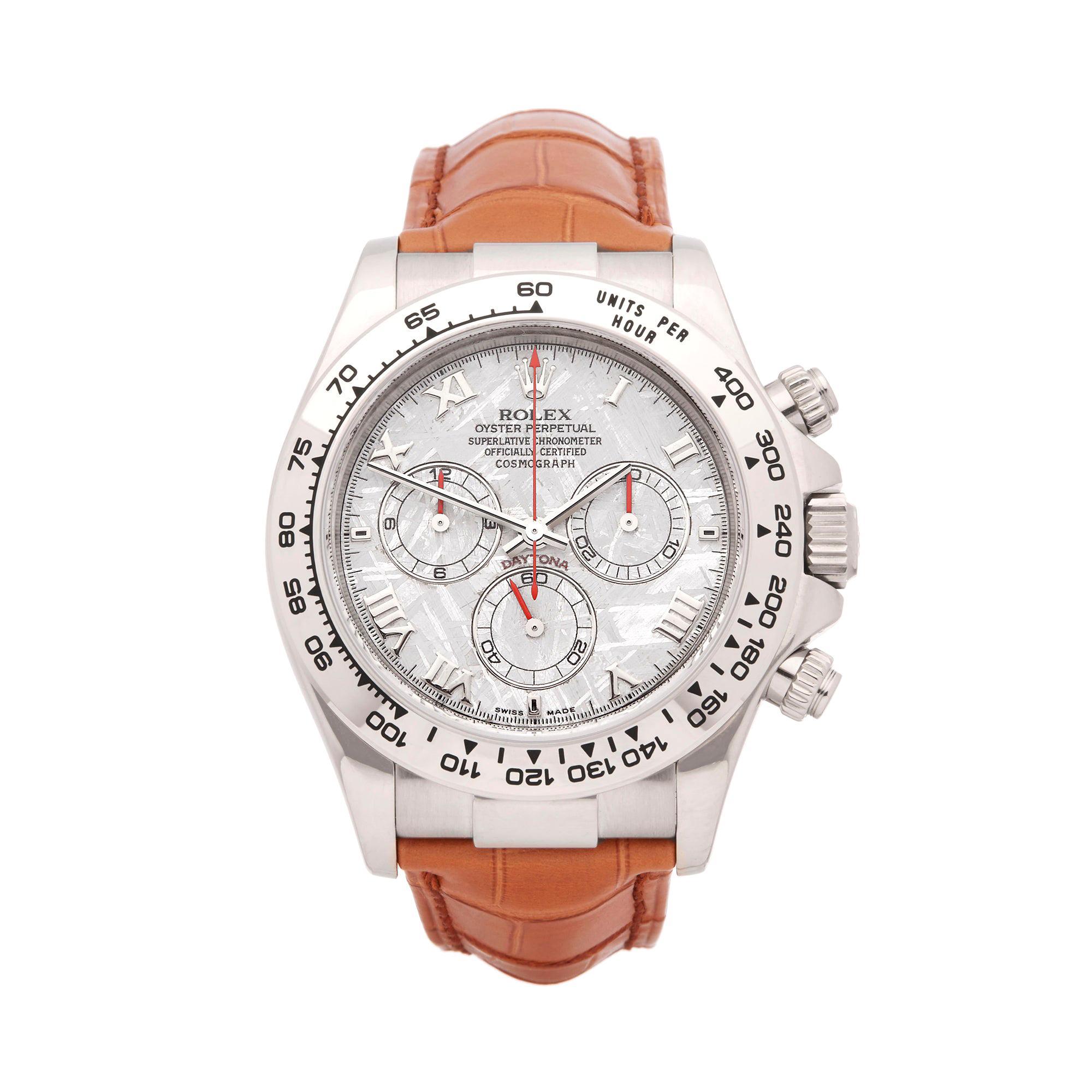 Rolex White Gold Cosmograph Meteorite Dial Daytona Wristwatch Ref