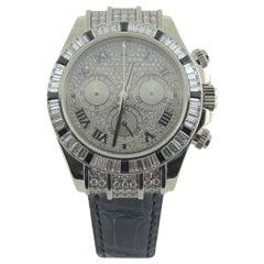 Rolex Daytona Cosmograph 116599 18k White Gold Pave Diamond & Sapphire Watch
