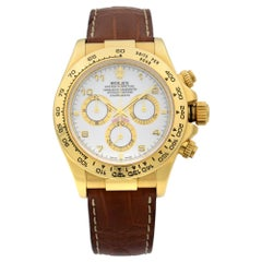 Rolex Daytona Cosmograph 18k Gold White Dial Leather Strap Men's Watch 116518