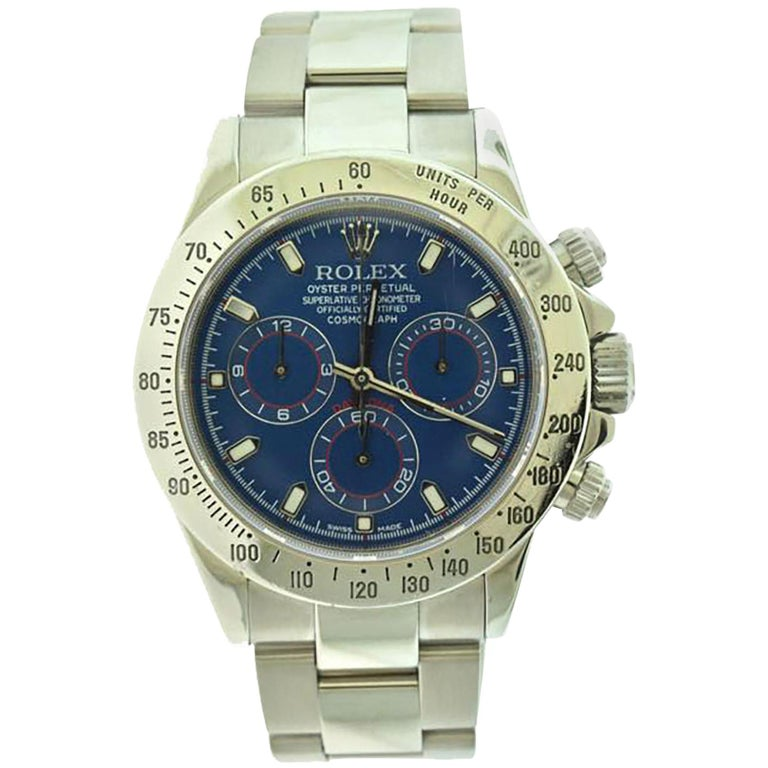 Rolex Daytona Cosmograph Ref. 116520 Steel Blue Dial Watch For Sale