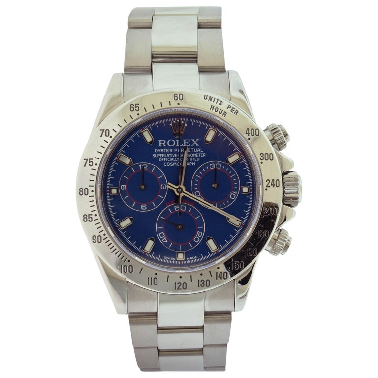 Rolex Daytona Cosmograph Ref. 116520 Steel Blue Dial Watch 'R-99' For Sale