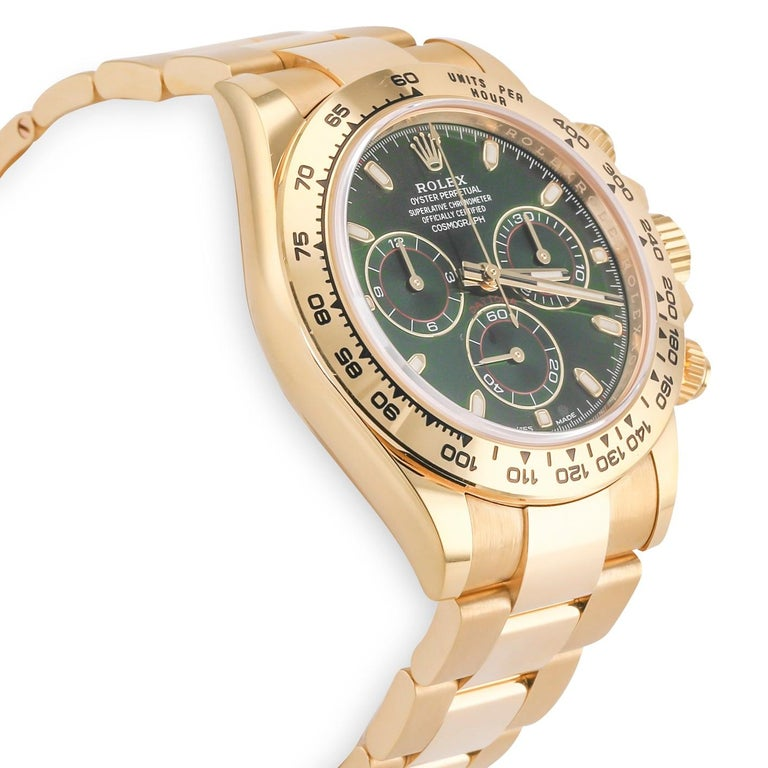Rolex Daytona Yellow Gold (116508) 18K Yellow Gold Case & bezel Reference Number:  116508 Self-winding mechanical chronograph movement, Calibre 4130 Scratch resistant sapphire crystal Dial: Green Functions:  Chronograph, center hour, minute and