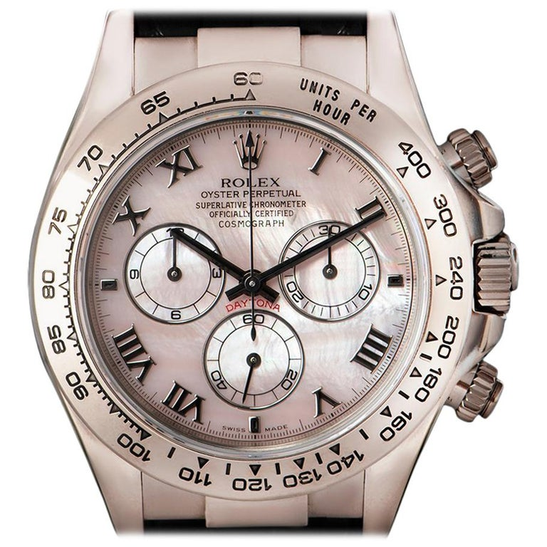 Rolex Daytona Gents White Gold Pink Mother Of Pearl Dial 116519