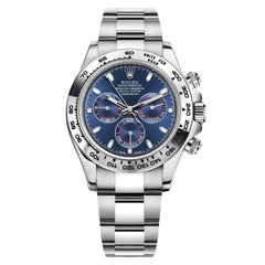Rolex Daytona Oyster Perpetual Cosmograph 18k White Gold Blue Dial 116509