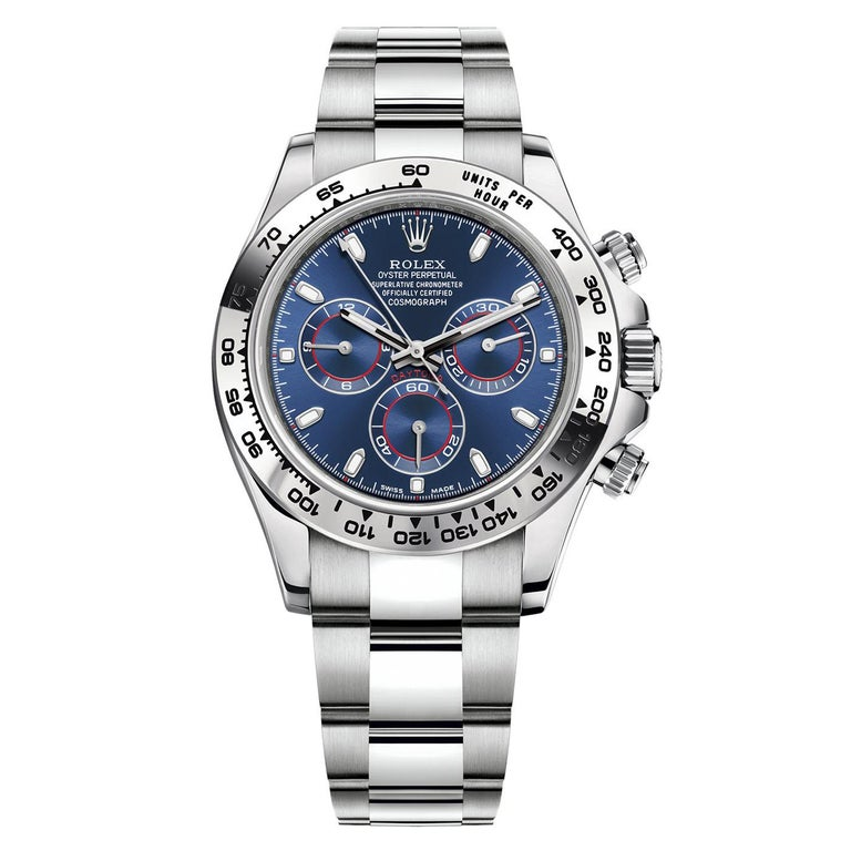 Rolex Daytona Oyster Perpetual Cosmograph 18k White Gold Blue Dial 116509 For Sale