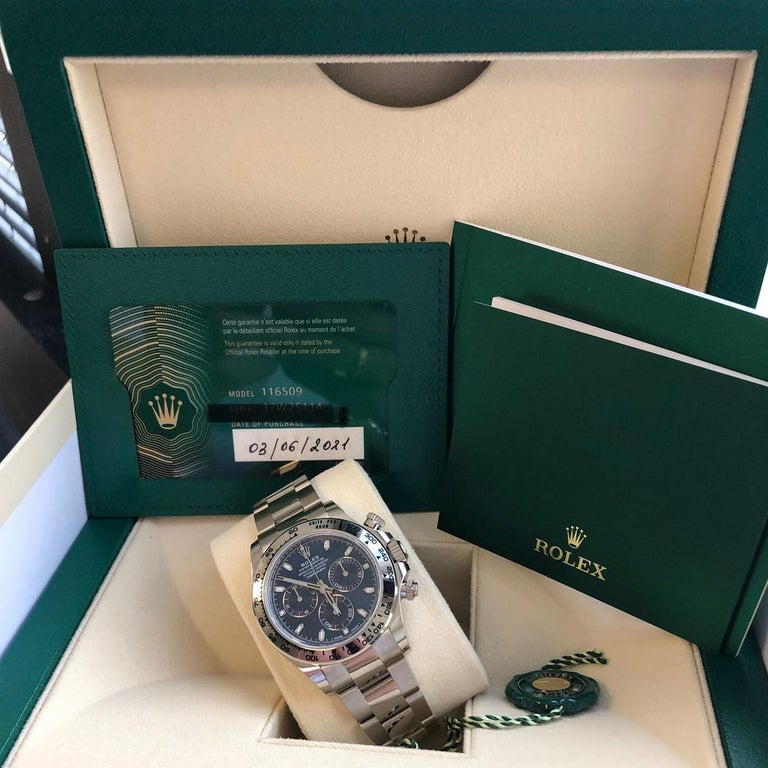 Rolex Daytona Oyster Perpetual Cosmograph 18k White Gold Blue Dial 116509 For Sale 5