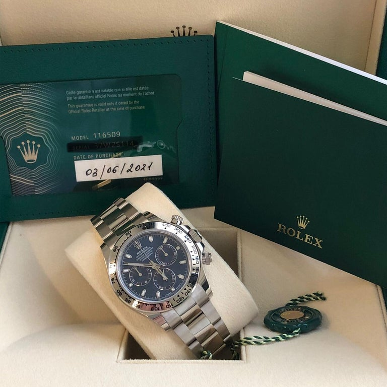 Rolex Daytona Oyster Perpetual Cosmograph 18k White Gold Blue Dial 116509 For Sale 6