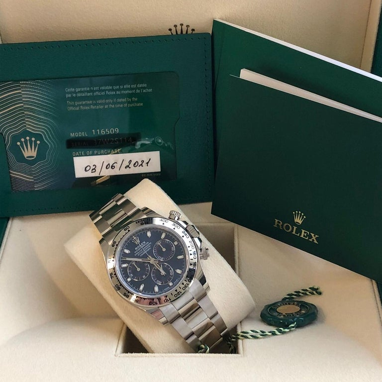 Rolex Daytona Oyster Perpetual Cosmograph 18k White Gold Blue Dial 116509 For Sale 7