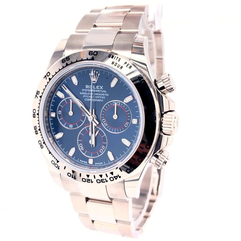 Modernist Rolex Daytona Oyster Perpetual Cosmograph 18k White Gold Blue Dial 116509 For Sale