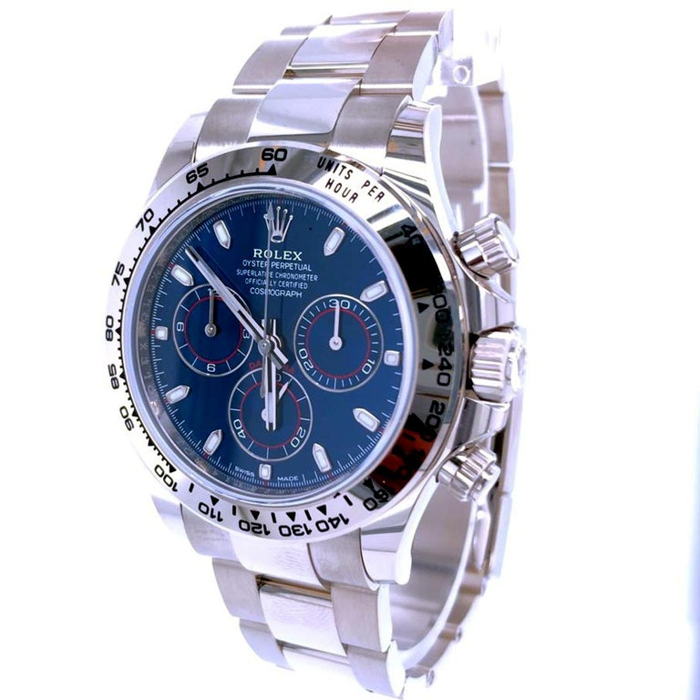 Rolex Daytona Oyster Perpetual Cosmograph 18k White Gold Blue Dial 116509 In New Condition For Sale In Aventura, FL