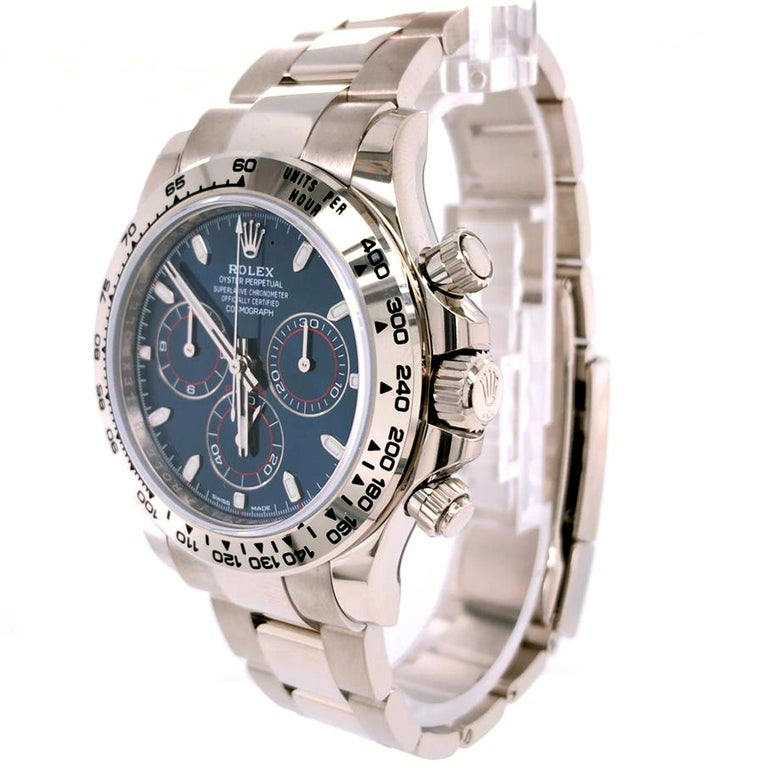 Women's or Men's Rolex Daytona Oyster Perpetual Cosmograph 18k White Gold Blue Dial 116509 For Sale