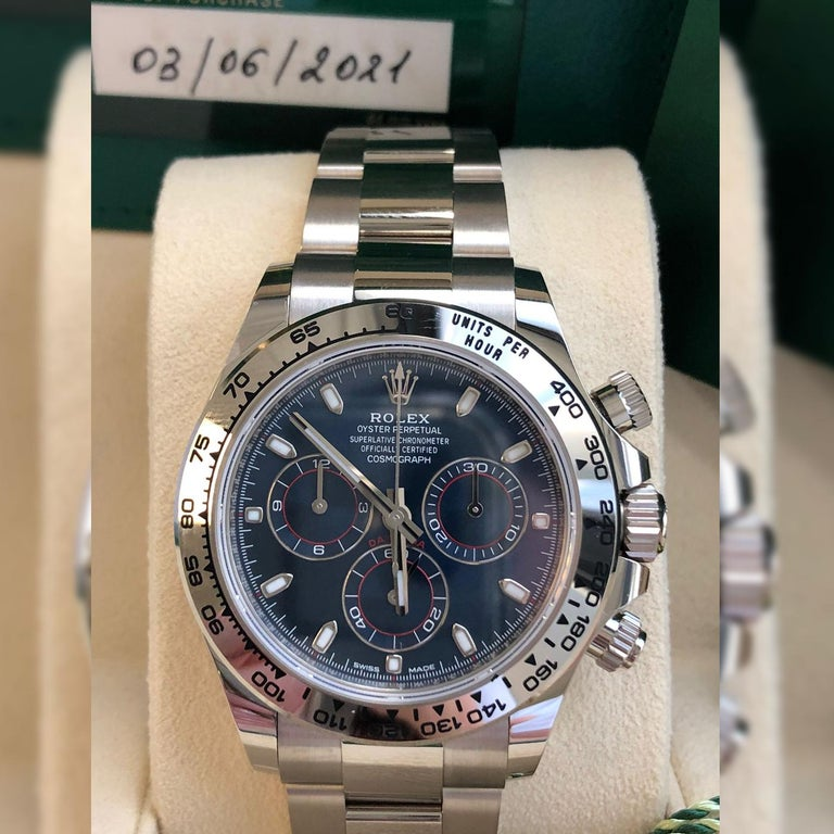 Rolex Daytona Oyster Perpetual Cosmograph 18k White Gold Blue Dial 116509 For Sale 3