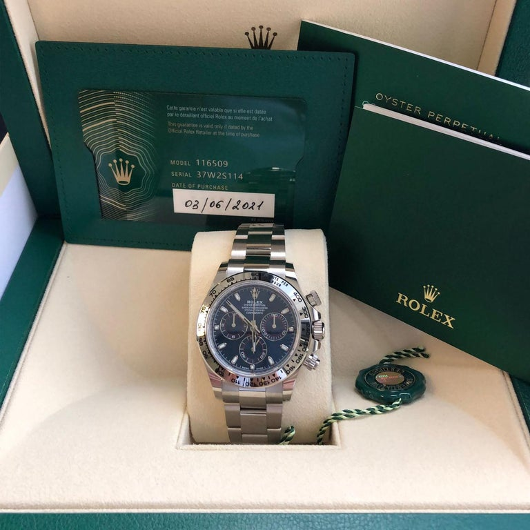 Rolex Daytona Oyster Perpetual Cosmograph 18k White Gold Blue Dial 116509 For Sale 4