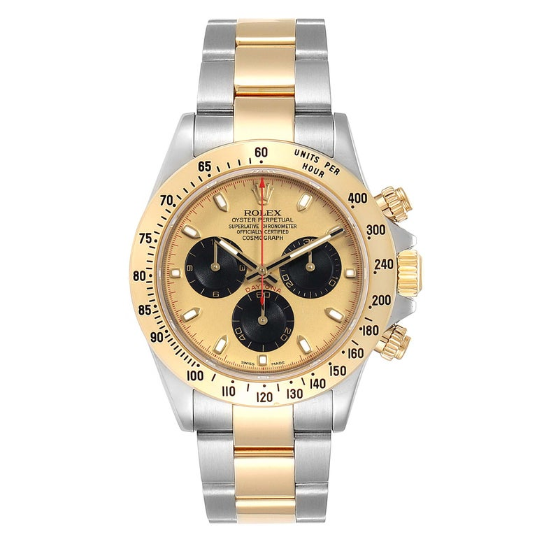 Rolex Daytona Paul Newman Dial Steel Yellow Gold Mens Watch 116523. Officially certified chronometer self-winding movement. Rhodium-plated, oeil-de-perdrix decoration, straight line lever escapement, monometallic balance adjusted to 5 positions,