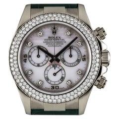 Rolex Daytona Pink Mother of Pearl Dial Diamond Original Green Leather Strap