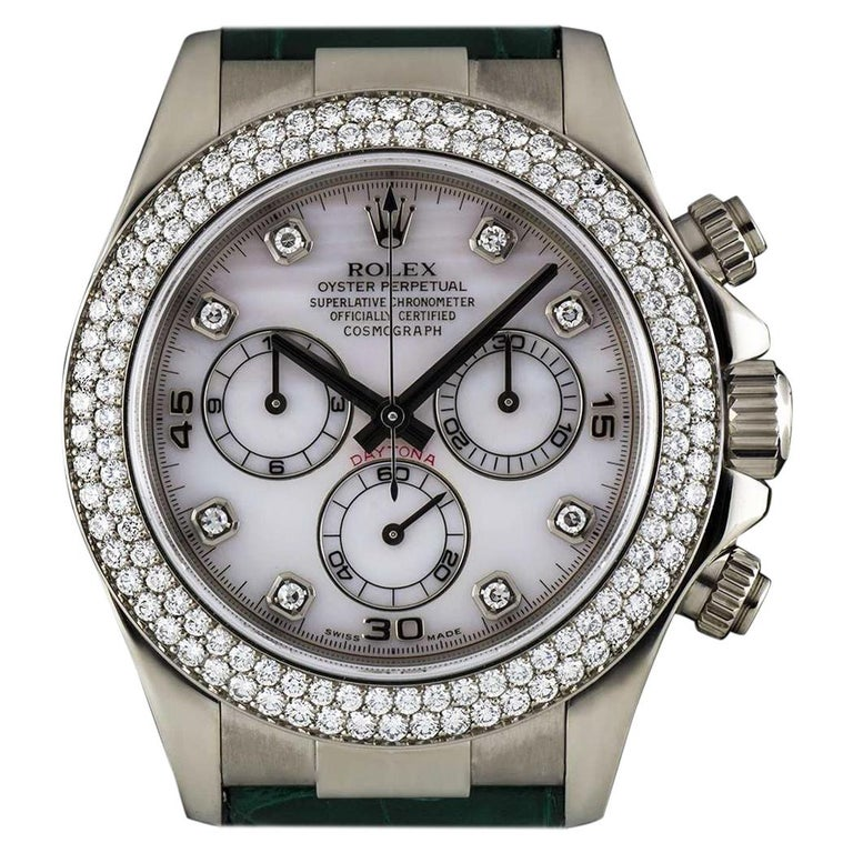 Rolex Daytona Pink Mother Of Pearl Dial Diamond Original Green