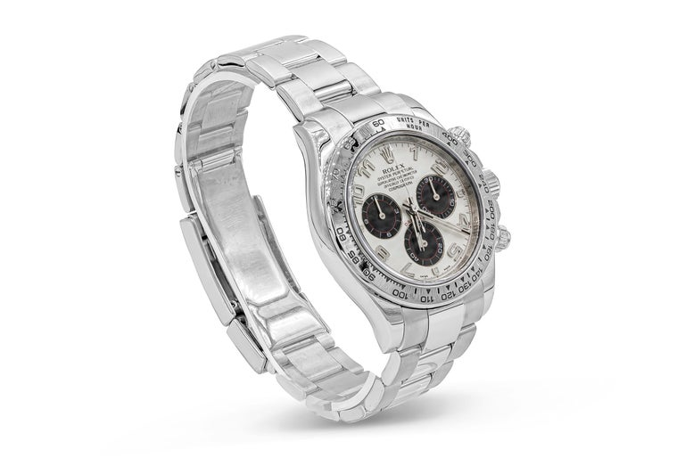 Rolex Daytona Chronograph Reference 116509. This watch has became one of the most iconic watches Rolex has ever made and is sought after all over the world At the heart of this 40 mm 18k white gold watch case with an engraved tachymeter bezel. With
