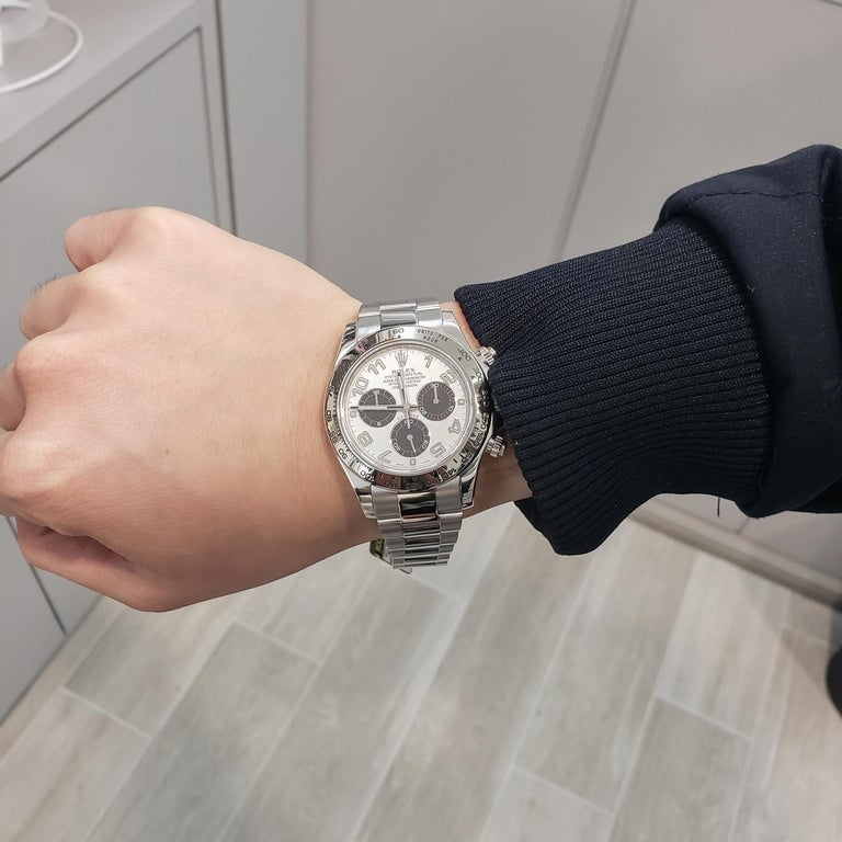 Rolex Daytona Ref 116509 Panda Dial White Gold Chronograph Wristwatch In Good Condition In New York, NY