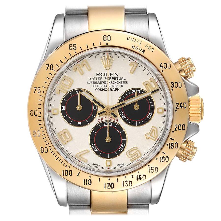 Rolex Daytona Steel 18k Yellow Gold Panda Dial Mens Watch 116523