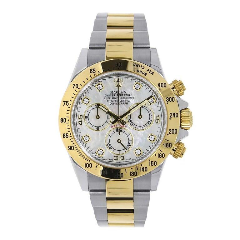 Rolex Daytona Steel 18k Yellow Gold White Mop Diamond Dial Watch 116503