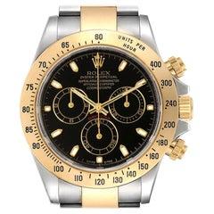 Rolex Daytona Steel Yellow Gold Black Dial Men's Watch 116523 Box Papers