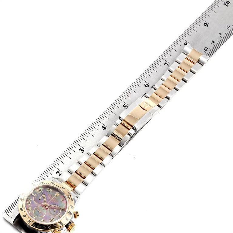 Rolex Daytona Steel Yellow Gold Black Mother of Pearl Dial Chronograph Men's For Sale 7