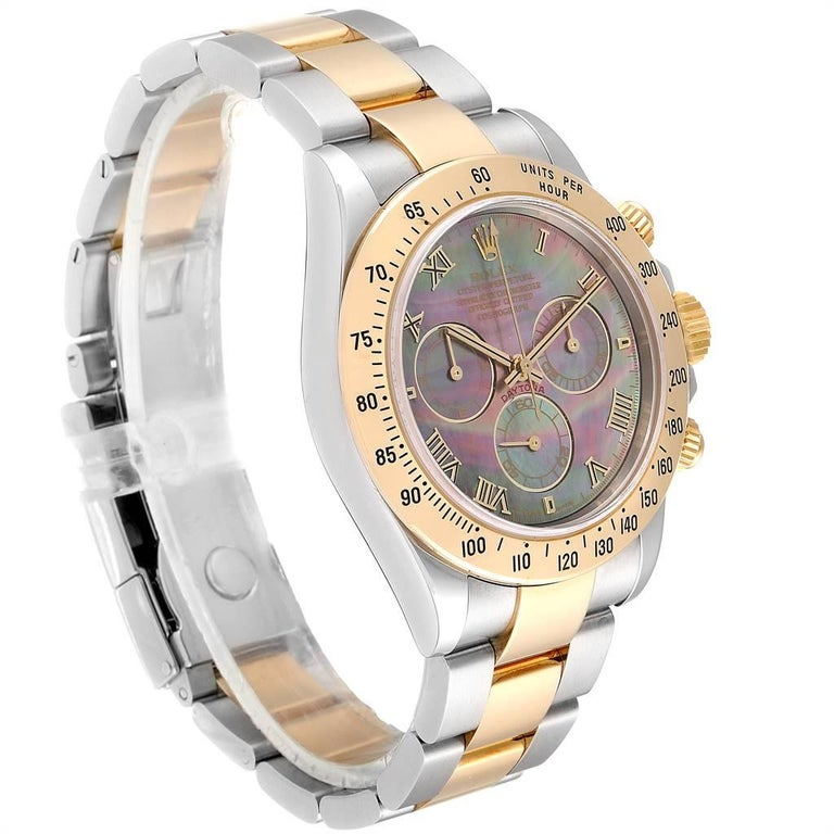 Rolex Daytona Steel Yellow Gold Black Mother of Pearl Dial Chronograph Men's In Excellent Condition For Sale In Atlanta, GA